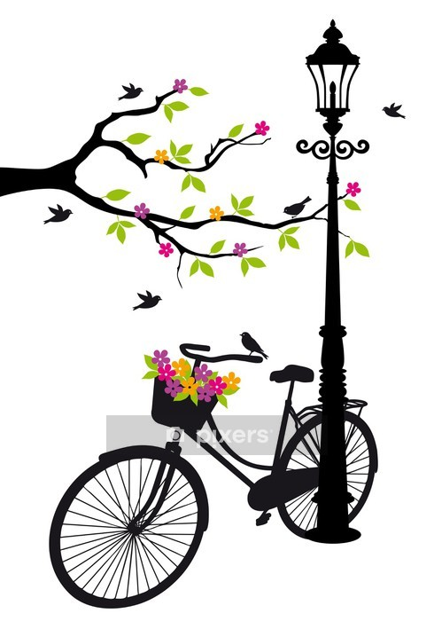 bicycle with lamp, flowers and tree, vector Wall Decal -