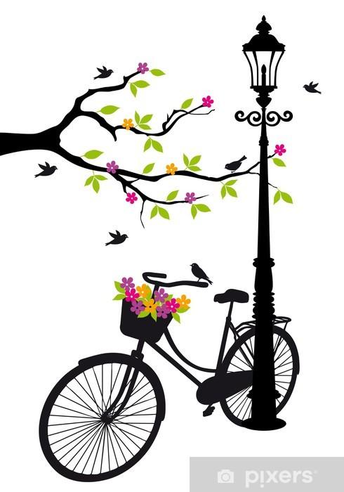 Fotomural Estándar Bicicleta con lámparas, flores y vector del árbol, -