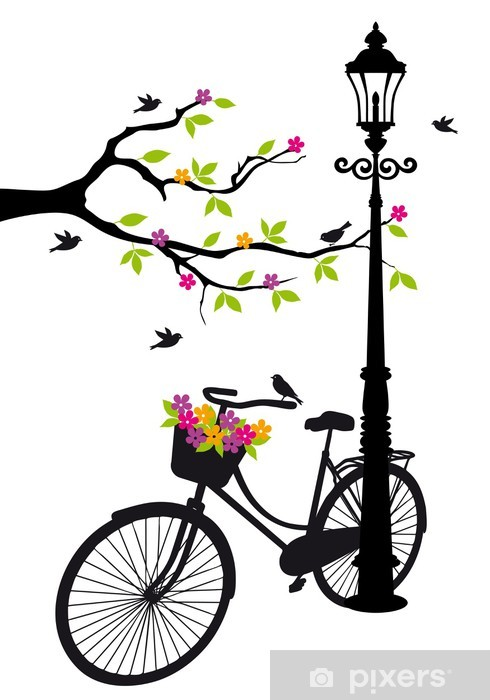 bicycle with lamp, flowers and tree, vector Pixerstick Sticker -