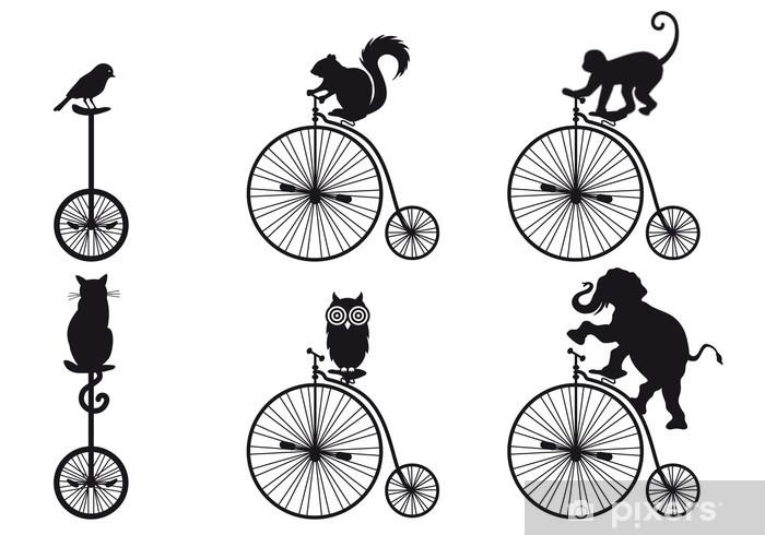 Adesivo Bicicletta Retrò Con Gli Animali Insieme Vettoriale Pixerstick