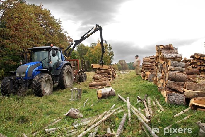 Naklejka Pixerstick Rozładunek drewna. Jesień działa. - Rolnictwo