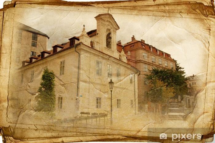 Sticker Pixerstick Vues de Prague a fait dans le style vintage, comme une carte postale - Villes européennes