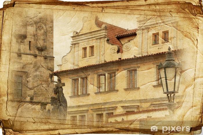 Nálepka Pixerstick Výhled na Prahu z ve vintage stylu, stejně jako pohlednici - Evropská města
