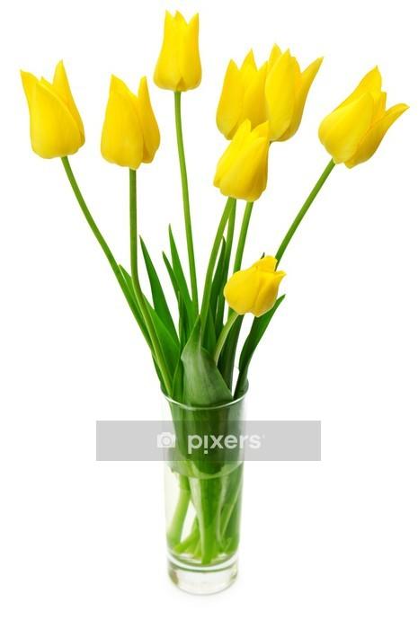 Naklejka na ścianę Bukiet żółtych tulipanów w wazonie - Kwiaty