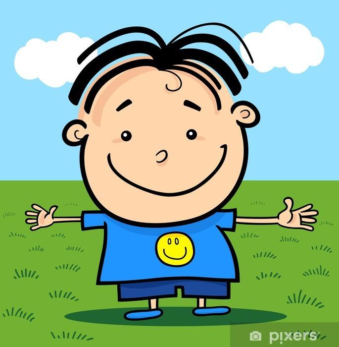 Naklejka Pixerstick Wszystkiego najlepszego z okazji cartoon Cute Little Boy - Dzieci