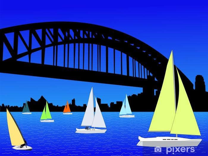 Vinylová fototapeta Jachty a Sydney panorama - Vinylová fototapeta