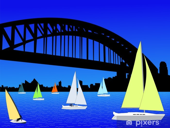 Yachts and Sydney skyline Vinyl Wall Mural - Oceania