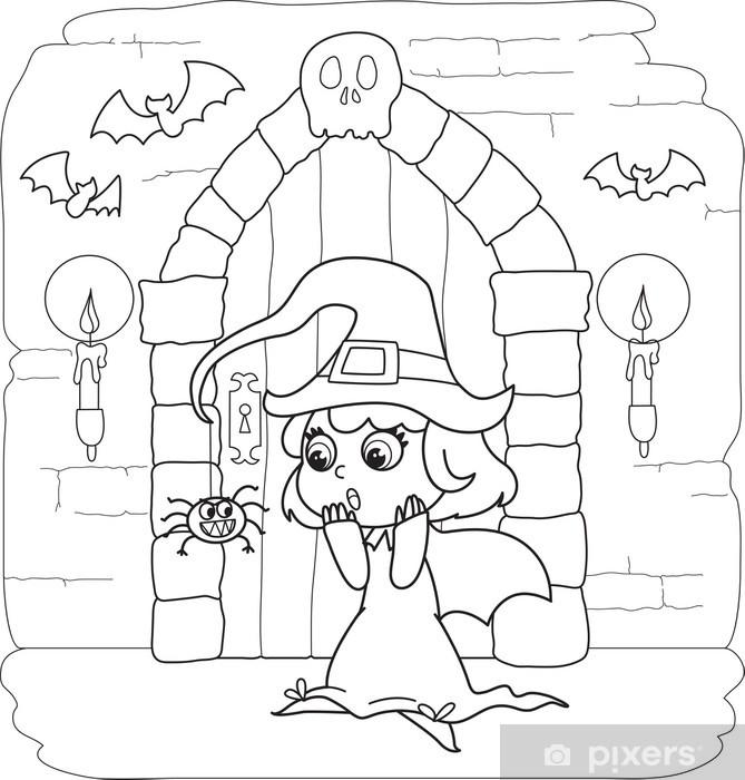 Sticker Coloriage Halloween petite sorcière en maison ...