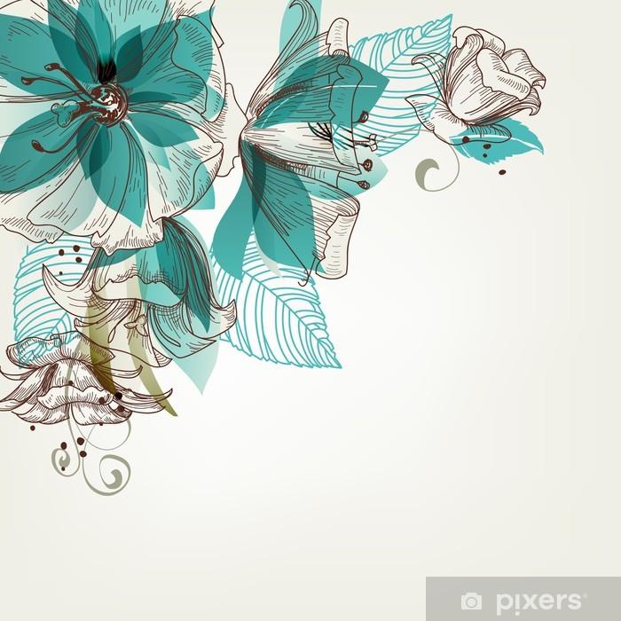 Carta da Parati in Vinile Retro fiori illustrazione vettoriale - Stili