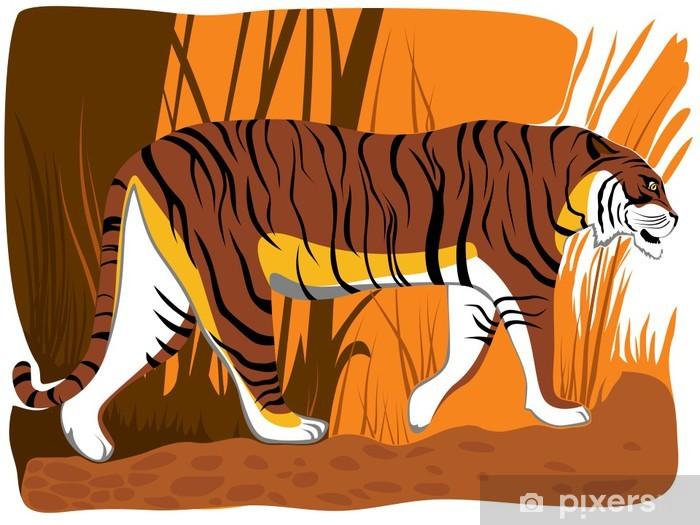 Adesivo illustrazione vettoriale di tigre cartone animato