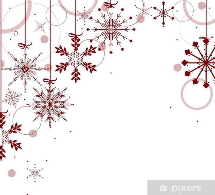Foto Fiocchi Di Natale.Carta Da Parati In Vinile Design Di Natale Con I Fiocchi Di Neve Rossi Su Fondo Bianco