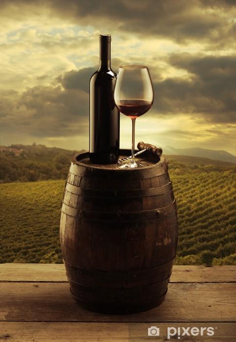 Vinilo Pixerstick Viña del vino rojo -