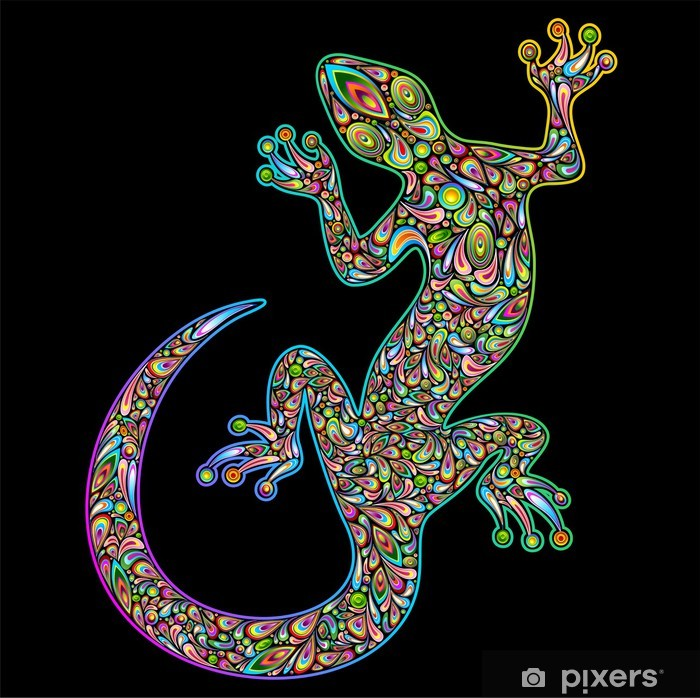 Geko Lizard Psychedelic Design-Geco Lucertola Psichedelico Vinyl Wall Mural - Other Other
