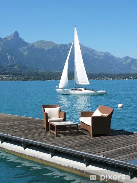 Vinyl-Fototapete Romantischer Blick auf den See Thun, Schweiz - Wasser