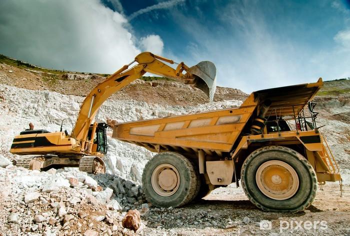 Vinilo Pixerstick Excavadora excavadora en cantera - Industria pesada