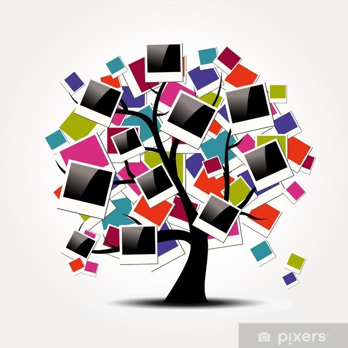 Fotomural Estándar Memoria árbol genealógico con los marcos polaroid foto - Árboles