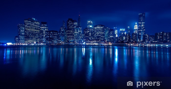 New York Skyline bei Nacht Vinyl Wall Mural - Themes