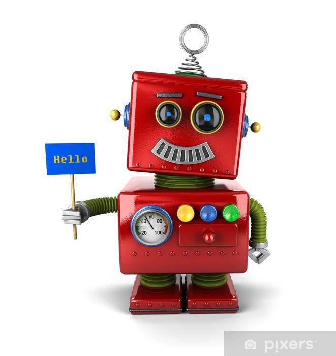 Naklejka Pixerstick Szczęśliwa rocznika robot z Witaj Zaloguj -