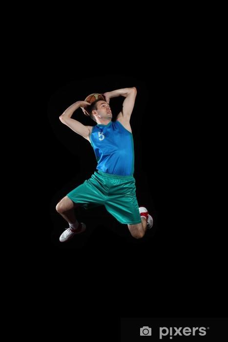 Nálepka Pixerstick Basketbalový hráč s míčem - Basketbal