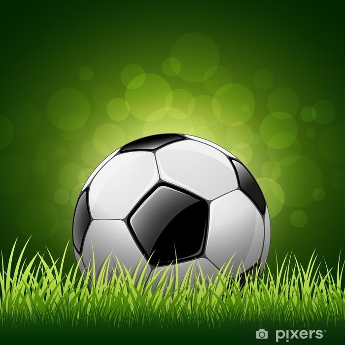 Fotomural Estándar Balón de fútbol sobre el césped de fondo 4153a715f0983