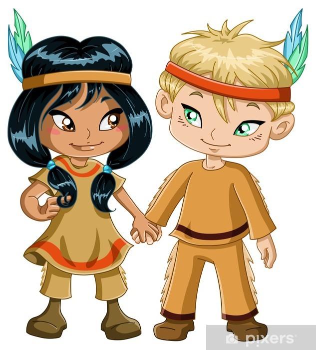 47a5bd5e4cab51 Pixerstick Sticker Indische Jongen En Meisje Hand In Hand voor Thanksgiving  - Internationale Vieringen