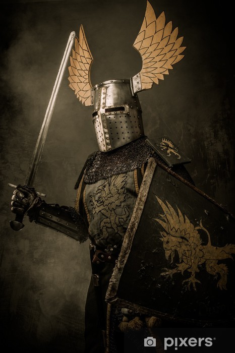 Papier peint vinyle Knigh médiéval avec une épée - Chevaliers