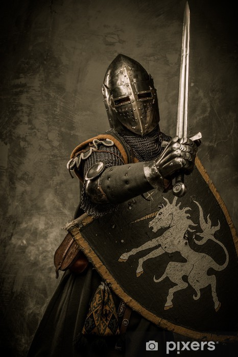 Medieval knight on grey background Pixerstick Sticker - Knights