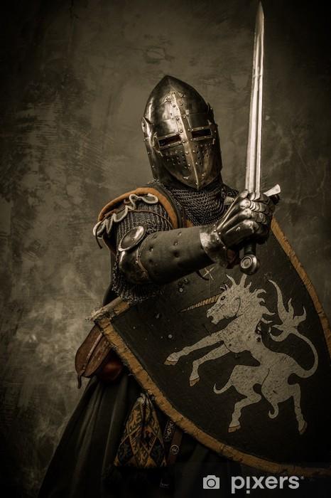 Vinilo Pixerstick Caballero medieval sobre fondo gris. - Caballeros