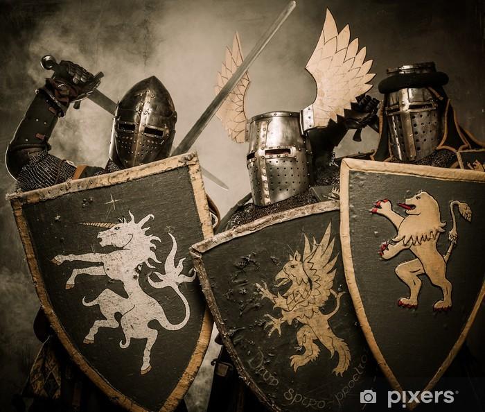 Papier peint vinyle Trois chevaliers médiévaux - Chevaliers