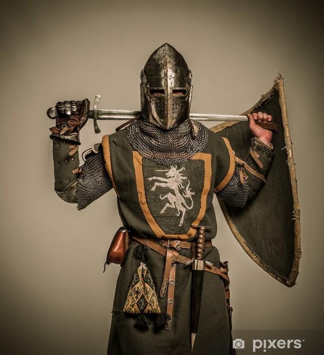 Papier peint vinyle Chevalier médiéval avec une épée - Chevaliers