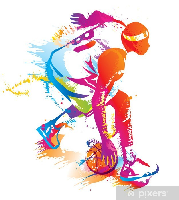 Basketball player. Vector illustration. Pixerstick Sticker - Basketball