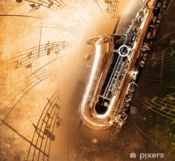 Old Saxophone with dirty background Pixerstick Sticker - Jazz
