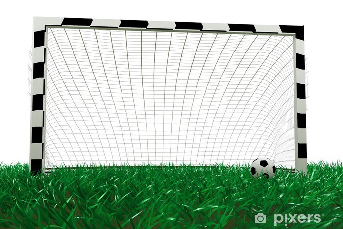 football goal and soccer ball on grass Pixerstick Sticker - Signs and Symbols