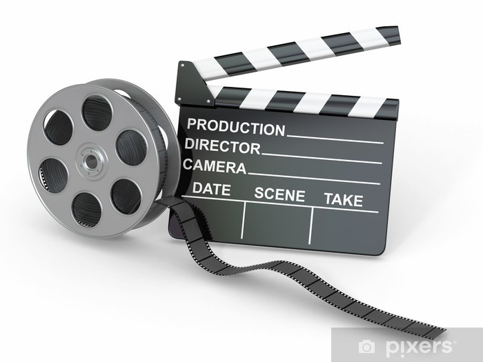 Movie industry. Clapperboard and film reel. Wall Mural • Pixers ...