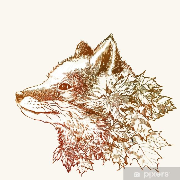 Vinyl Fotobehang Herfst vos - Natuur