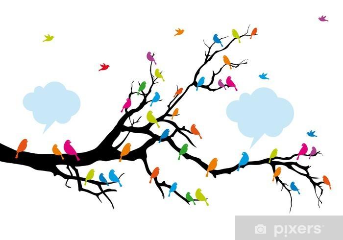 Sticker Pixerstick Oiseaux de couleur sur l'arbre, vecteur - Sticker mural
