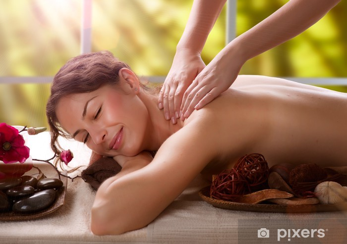 Sticker Pixerstick Massage. Salon Spa - Santé