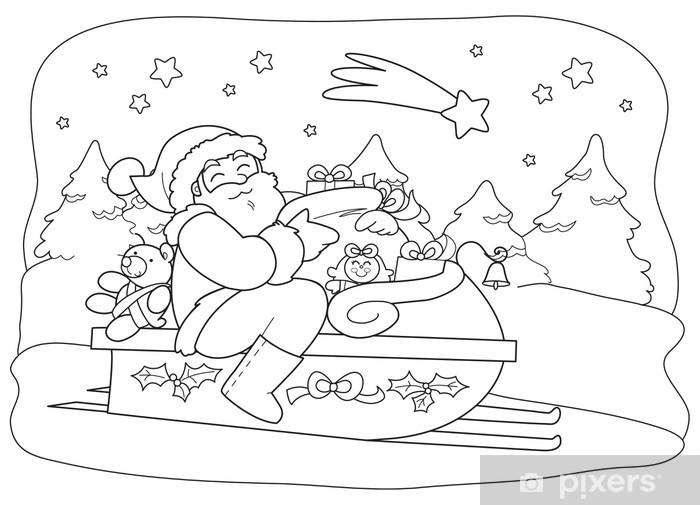 Carta Da Parati Il Babbo Natale Con Il Sacco A Slitta Pixers