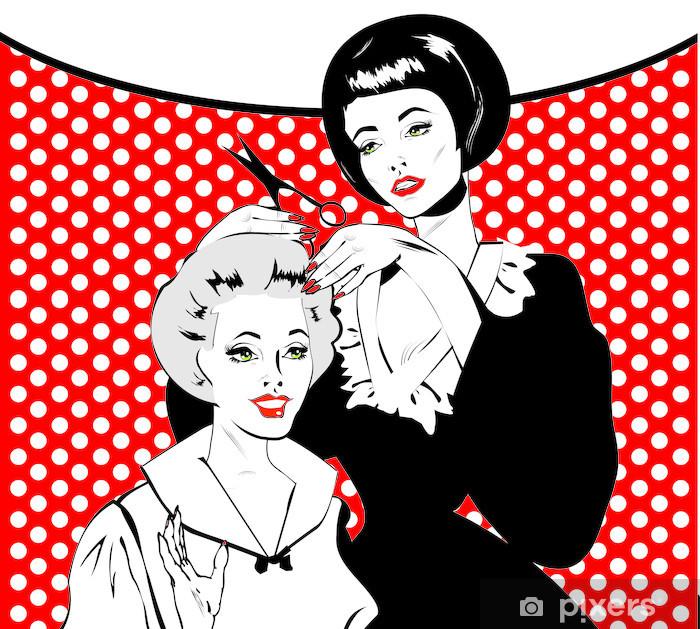 Pixerstick Sticker Vintage retro Hairdressing - Retro poster -
