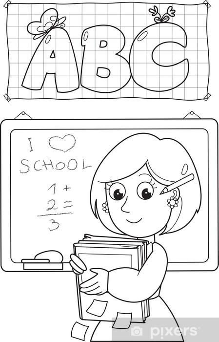 Vinilo Pixerstick Cartoon Maestro De Escuela Con Los Libros Para