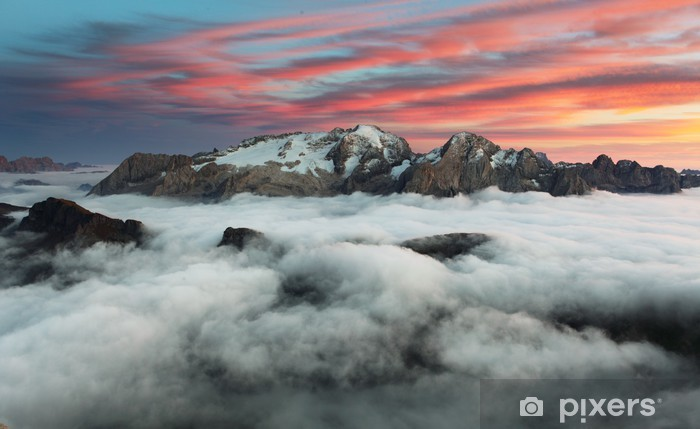 Mountain Marmolada at sunset in Italy dolomites at winter Pixerstick Sticker - Themes