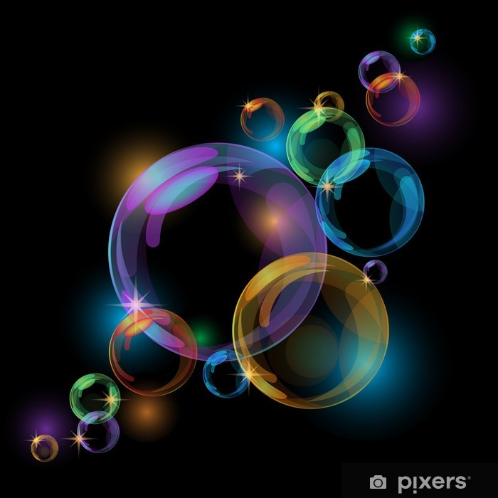 Naklejka Pixerstick Czarnym bąbelkowa wektorowe - Tła