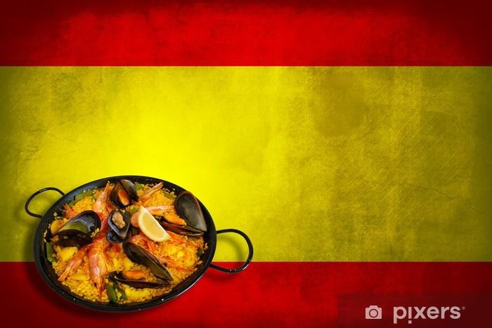 Naklejka Pixerstick Hiszpański flaga z paella - Flagi narodowe