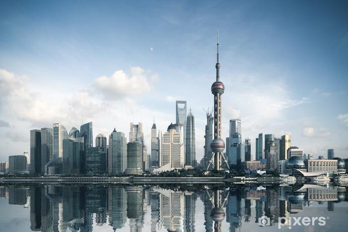 Vinyl Fotobehang Shanghai skyline met reflectie - Thema's