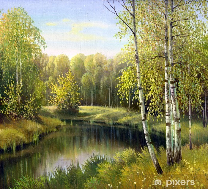 autumn landscape, canvas, oil Washable Wall Mural - Birches