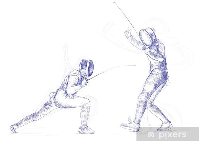 Papier peint vinyle Escrime - image de dessin à la main (ce qui est dessin original) - Sports individuels