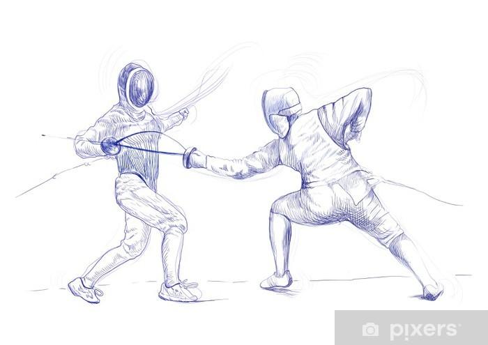 Naklejka Pixerstick Szermierka - obraz rysunek ręka (jest to oryginalny rysunek) - Sporty indywidualne