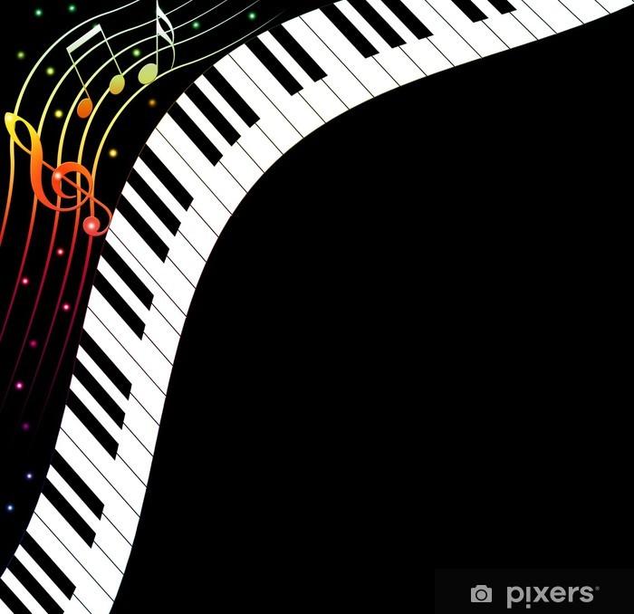 Naklejka Pixerstick Klawiatury fortepianu w tle z miejscem na tekst - Tła