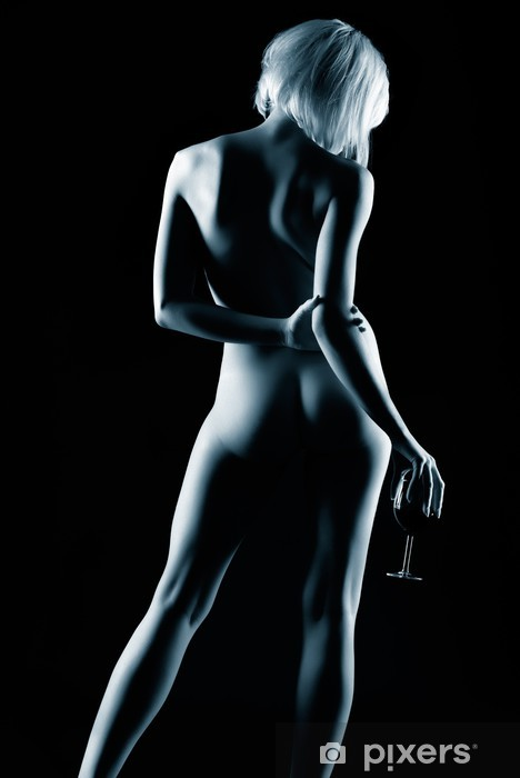 Naklejka Pixerstick Naga kobieta i wino - Nagość