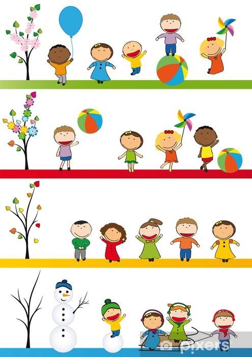 Dört Mevsim çocuk Duvar Resmi Pixers Haydi Dünyanızı Değiştirelim